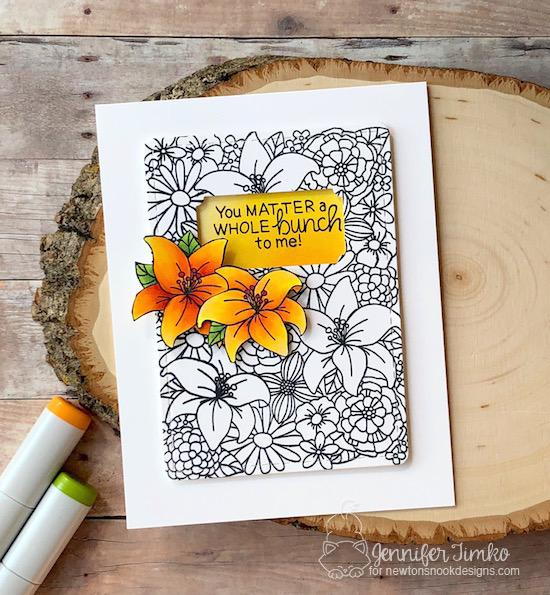 Floral Card by Jennifer Timko | Blooming Botanicals Stamp Set + Framework Die Set by Newton's Nook Designs #newtonsnook