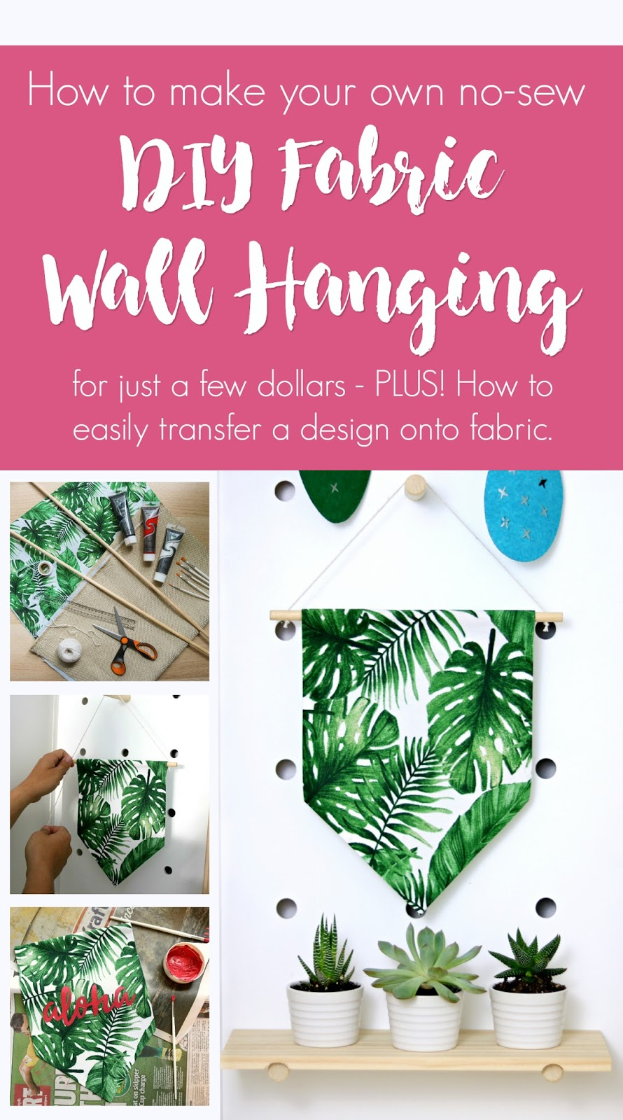 How To Make A Diy No Sew Fabric Wall Hanging