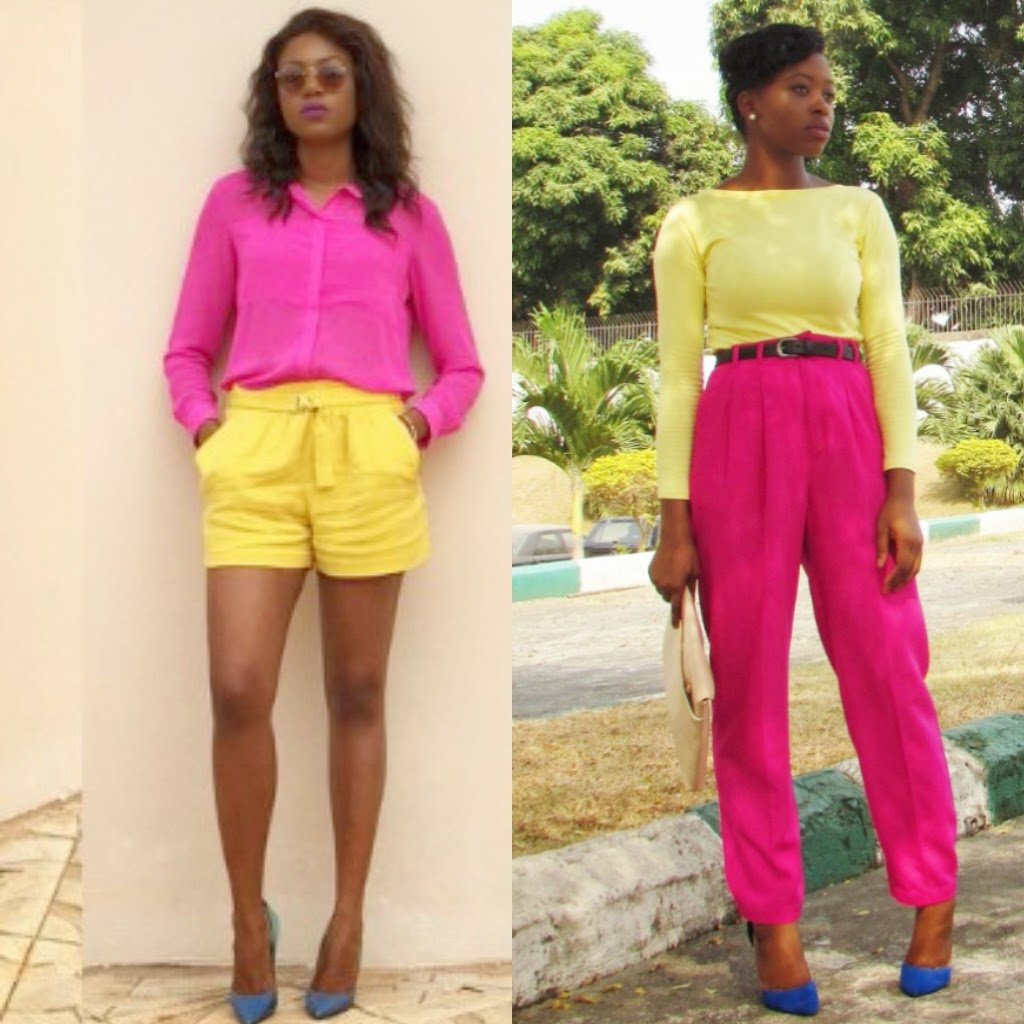 colour blocking, pink high-waist trousers, pants, blue pumps, oversized clutch, zalora Thailand, nude purse, Yvonne Nelson, Ghanaian actress