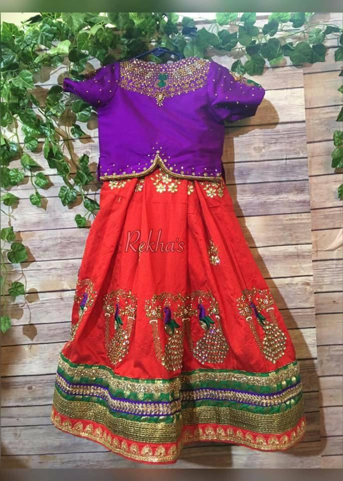 0018be94c7368 Bright red pure silk kids lehenga with dark green and gold color zardosi  work border