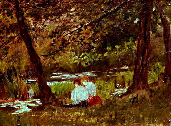 Dues dones assegudes en un clar de l'arbreda (Mary Stevenson Cassatt)
