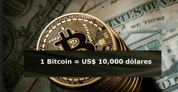 El Bitcoin cerca de los US$ 10,000 dólares
