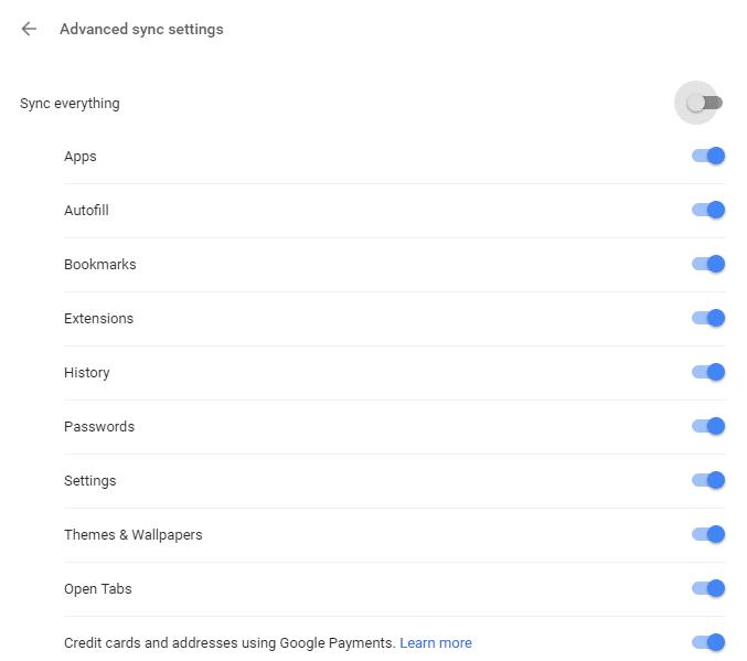 Enable Sync Settings Chrome