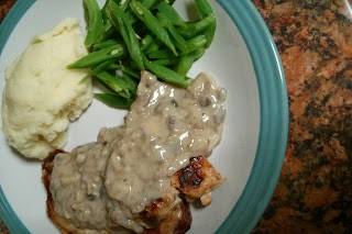 Pork Chops with Creamy Mushroom Sauce and Mash