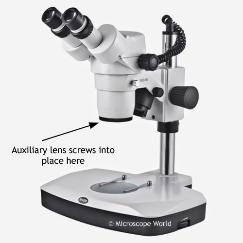 Stereo microscope auxiliary lens from microscope world