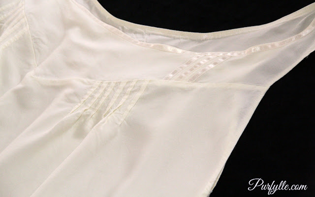 1888 Chemise satin ribbon trim and pin tuck details