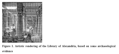 Figure 1. Artistic rendering of the Library of Alexandria, based on some archaeological evidence