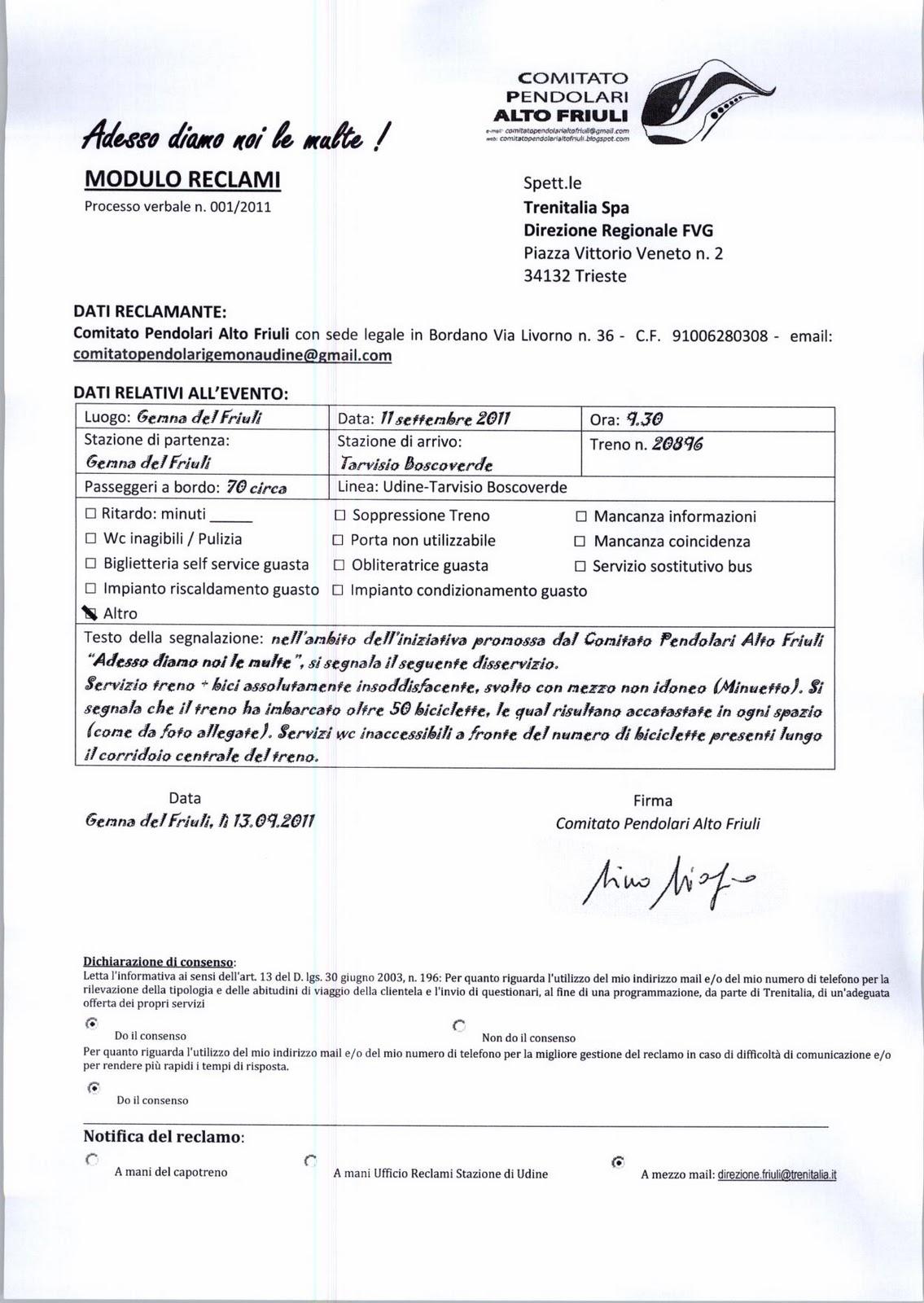 comitato pendolari alto friuli: settembre 2011
