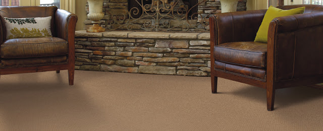 This darker brown carpet acts as a warm neutral - comforting and flexible.