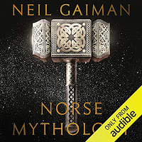 Norse Mythology audiobook cover. Thor's hammer, Mjolnir, rests on a cosmic black background.