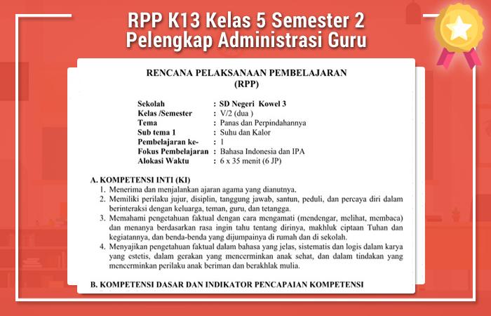 RPP K13 Kelas 5 Semester 2 Pelengkap Administrasi Guru