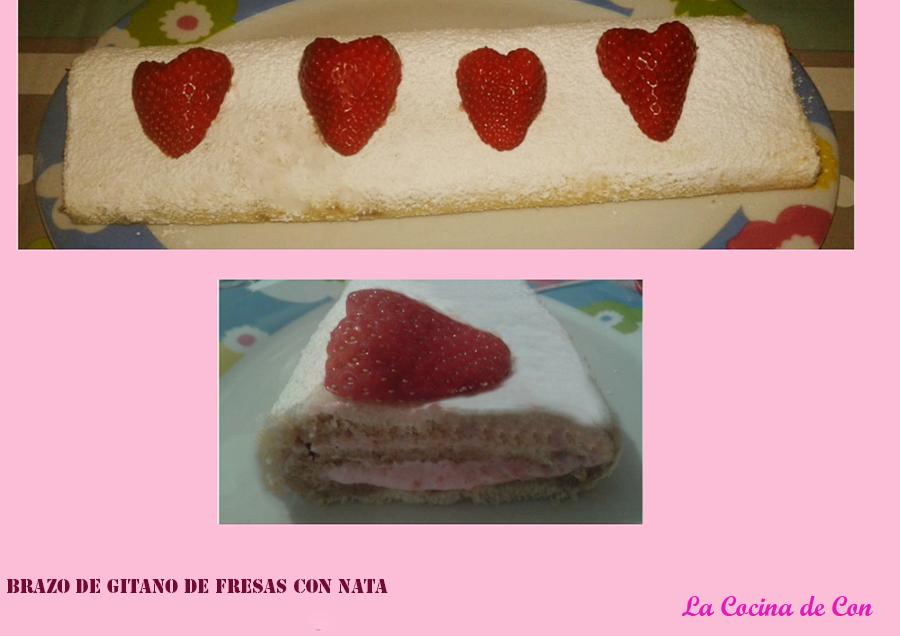 brazo de gitano de fresas con nata (crema de leche)
