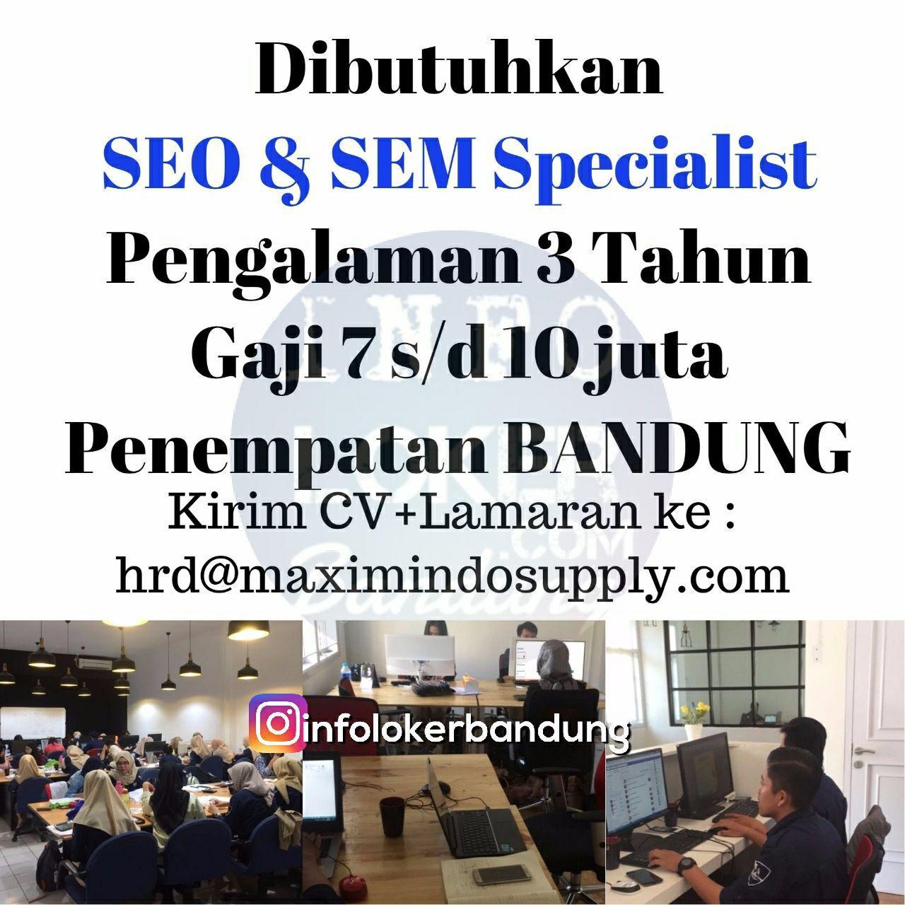 Lowongan Kerja SEO & SEM Maximindo Supply Oktober 2017