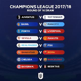 مواعيد مباريات دور ال 16 من دوري أبطال أوروبا 2018