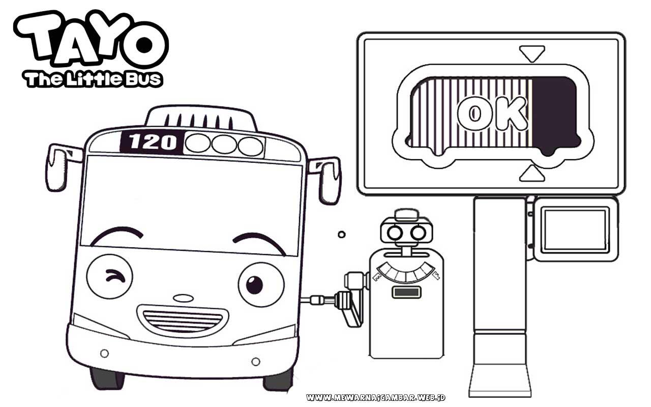 Mewarnai Gambar Tayo The Little Bus Mengisi Bensin