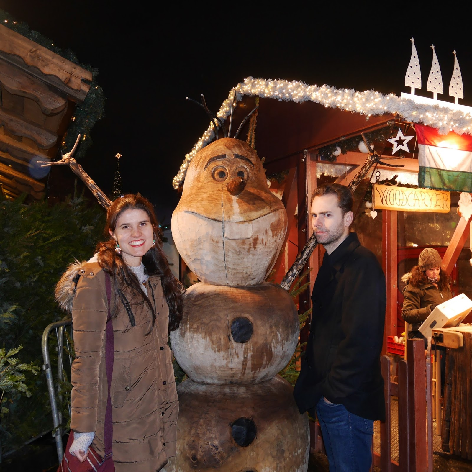 Stuart and I having a photo with Olaf at Winter Wonderland