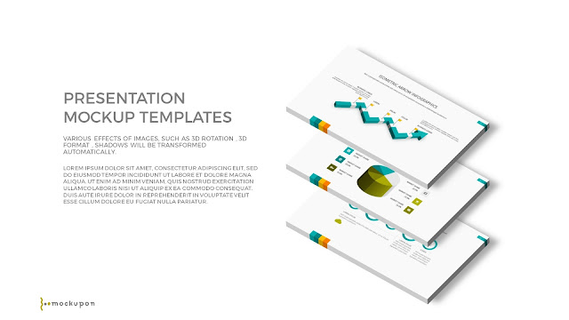 Free PowerPoint Template with 3D 3 Layered  Screen Mockups to the right
