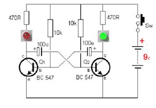 PCB Skema Rangkaian Lampu Flip Flop 2 Transistor