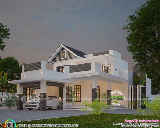 Grand looking contemporary mixed roof 4 bedroom home design
