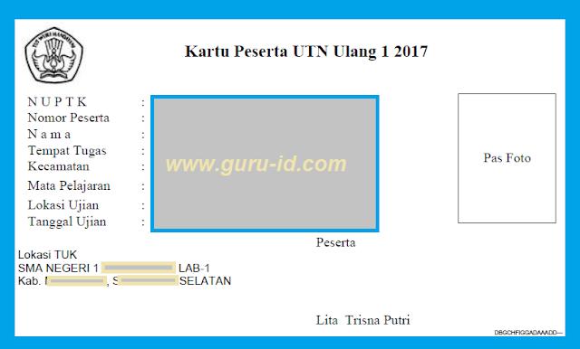 gambar kartu peserta UTN tahun 2017