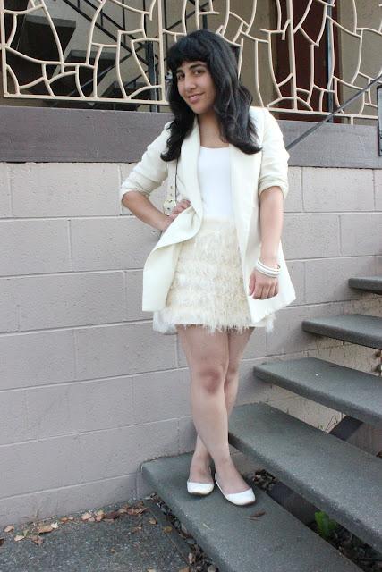 Cream Feather DVF Skirt