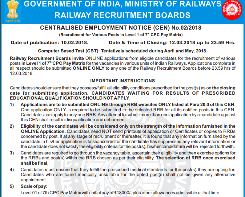 rrb railway group d official notification 62907 posts cen 02 2018