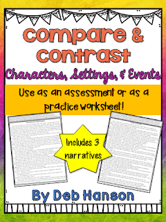 This compare and contrast packet contains 3 narratives. Students can compare and contrast characters, settings, and events.