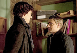 "Benedict Cumberbatch and Martin Freeman in BBC Sherlock ""A Study in Pink"""