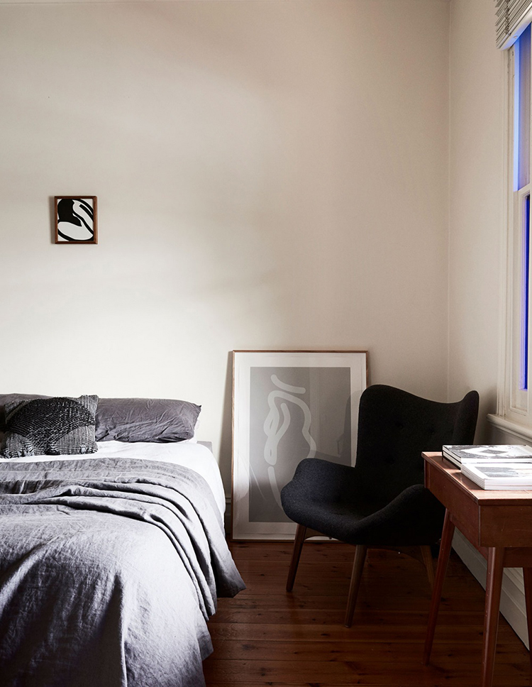 The eclectic sophisticated bedroom of Caroline Walls. Photo by Eve Wilson via The Design Files