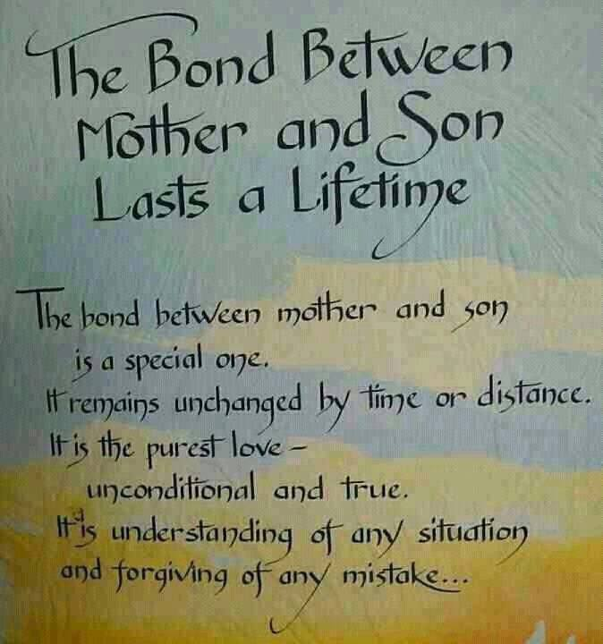 The Bond Between Mother And Son Lasts A Lifetime. The Bond