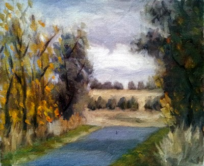Oil painting of a bitumen road disappearing over a small rise with trees on either side and in the distance.