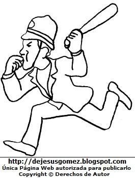 Dibujo de un policía corriendo para colorear pintar imprimir recortar y pegar. Dibujo de policía hecho por Jesus Gómez