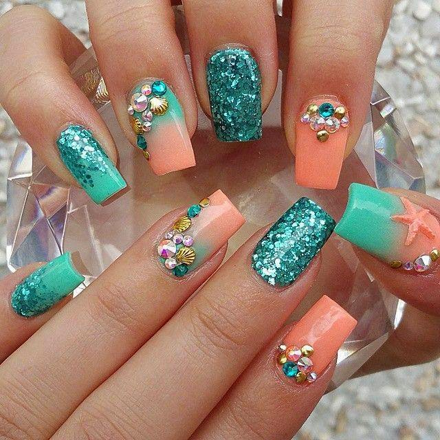 Rhinestones Nails Designs.