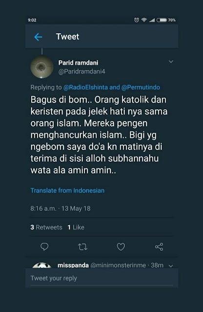 Manusia Berhati Iblis, Ini Dia No WA Akun Parid Ramdani Yang Ikut Berbahagia Atas Meledaknya 3 Gereja Di Surabaya