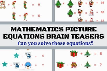 Christmas Rebus Puzzles With Answers.Mathematics Picture Equations Brain Teasers For Teens With