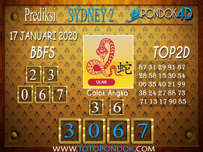 Prediksi Togel SYDNEY 2 PONDOK4D 17 JANUARI 2020