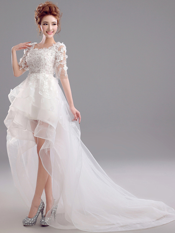 Simple Scoop Neck Short Sleeves Appliques Asymmetry A-Line WeddingDress