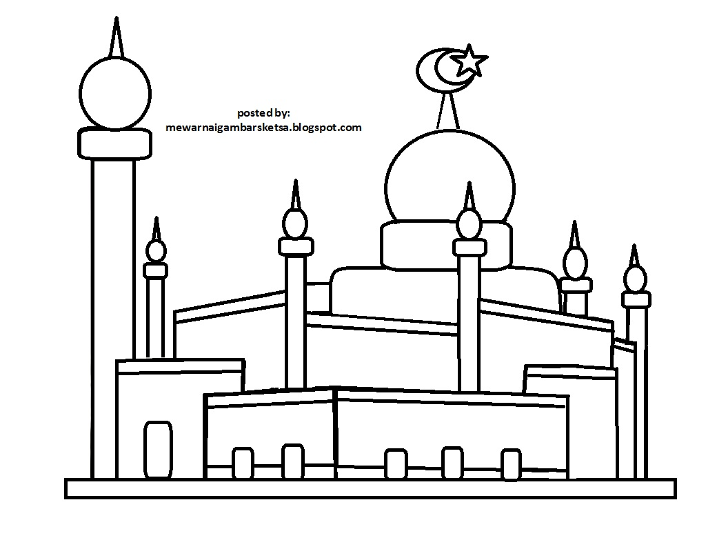 Mewarnai Gambar Sketsa Masjid