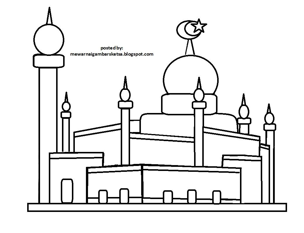 Mewarnai Gambar Mewarnai Gambar Sketsa Masjid 5