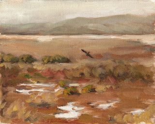 Oil painting of a marshy wetlands with distant hills and a bird in flight.