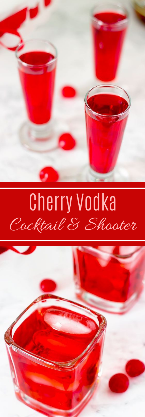 Valentine's Day Cherry Vodka Cocktail and Shooter #cocktail #drinks