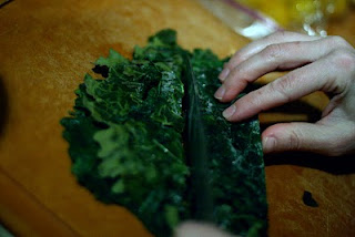 Chopping frozen kale