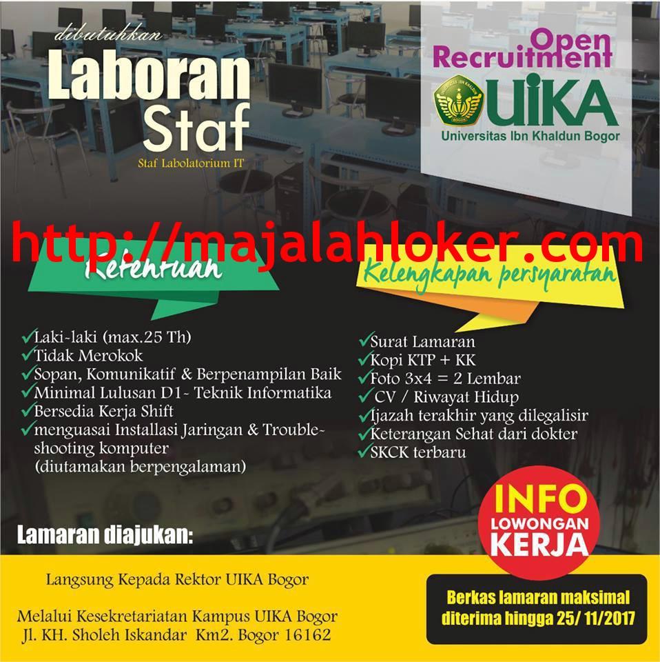 Lowongan Staf Laboran Universitas Ibn Khaldun (UIKA) Bogor