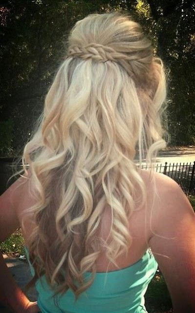 waterfall braids with curls for the bridesmaid