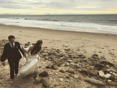 Troian Bellisario and Patrick J Adams wedding day on the beach (Fort Day 2016)