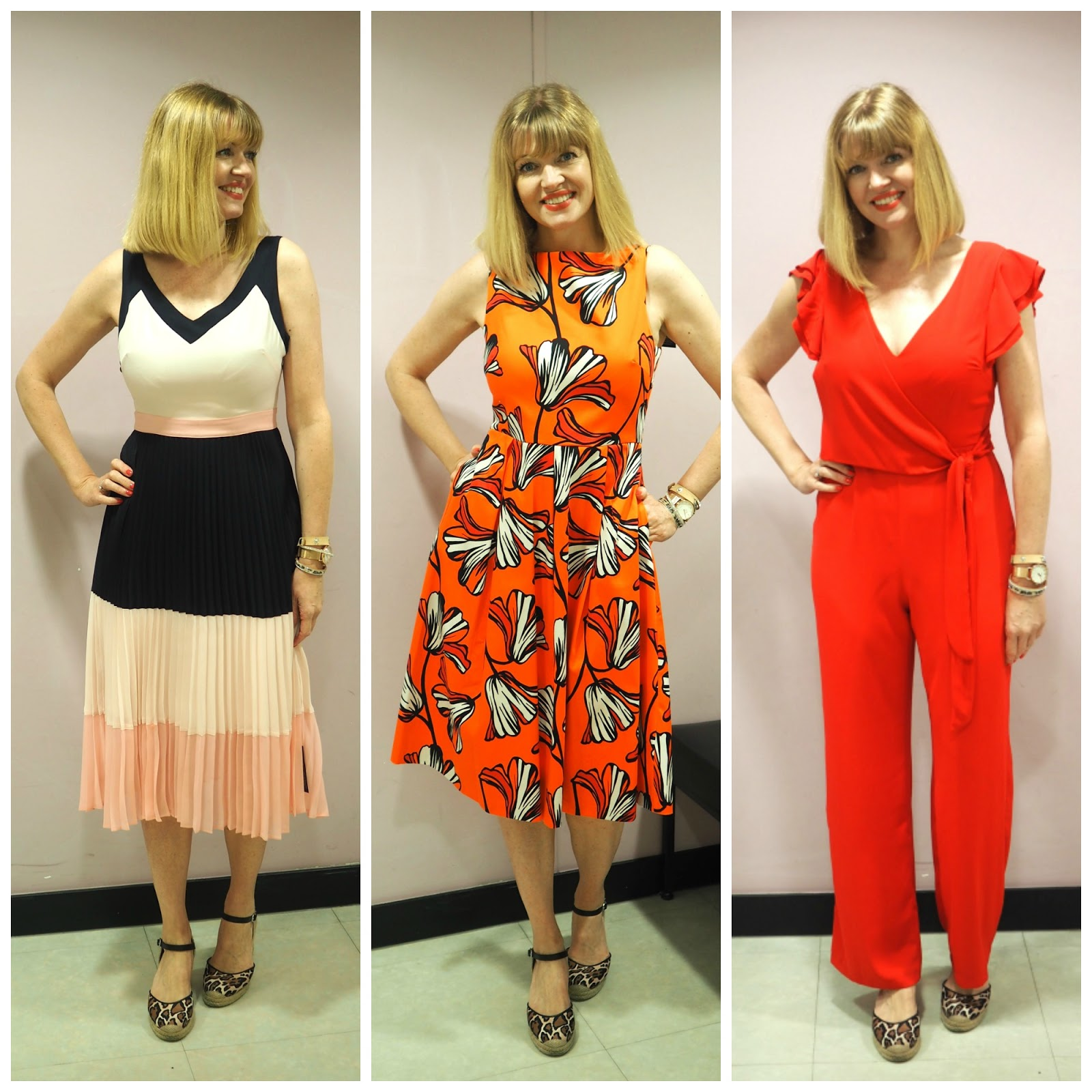 What to wear for York Races, Designers at Debenhams dresses and red jumpsuit, over 40