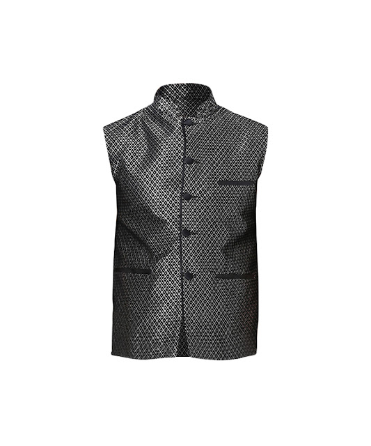Yepme Adam Ethnic Jacket - Black & Golden_ INR 1499