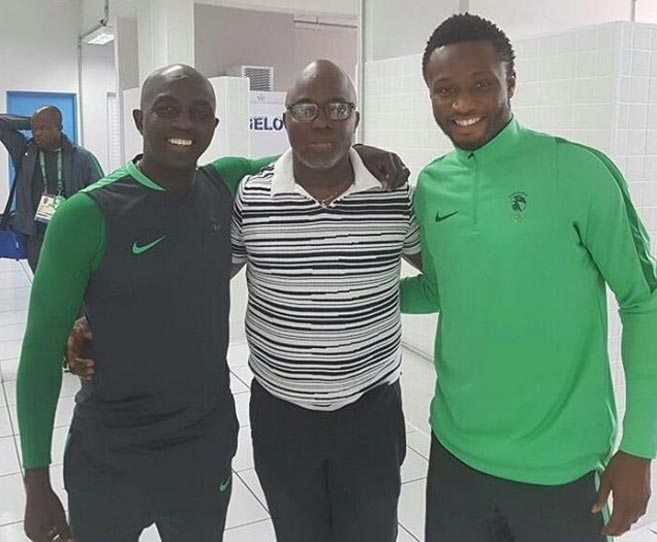 NFF president Pinnick pictured with Mikel, Siasia at Rio Olympics