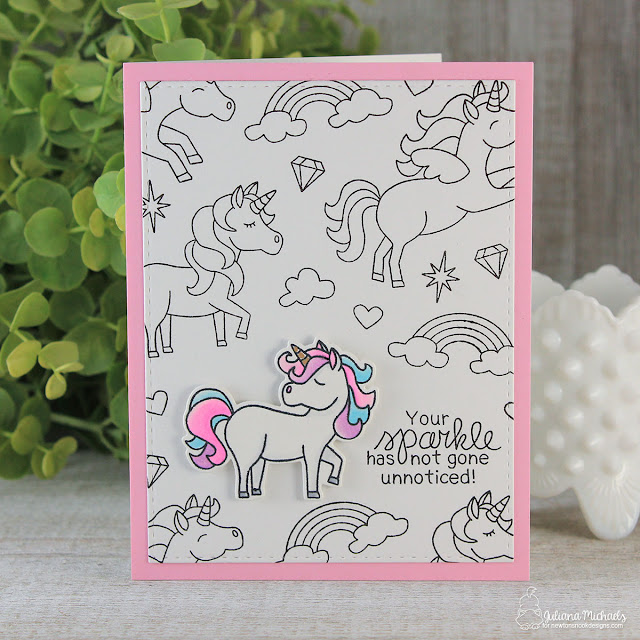 Black and White Background Stamping by Juliana Michaels featuring Newton's Nook Designs Believe in Unicorns Stamp Set