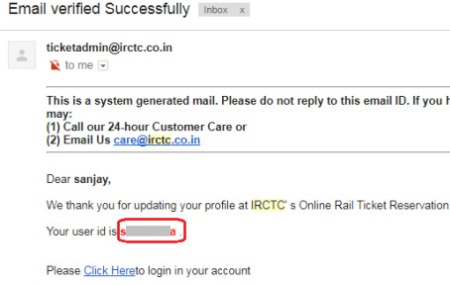 how to recover irctc user id through email address